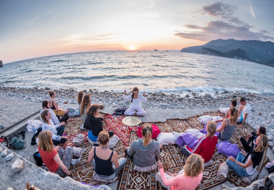 Yoga beach sunset